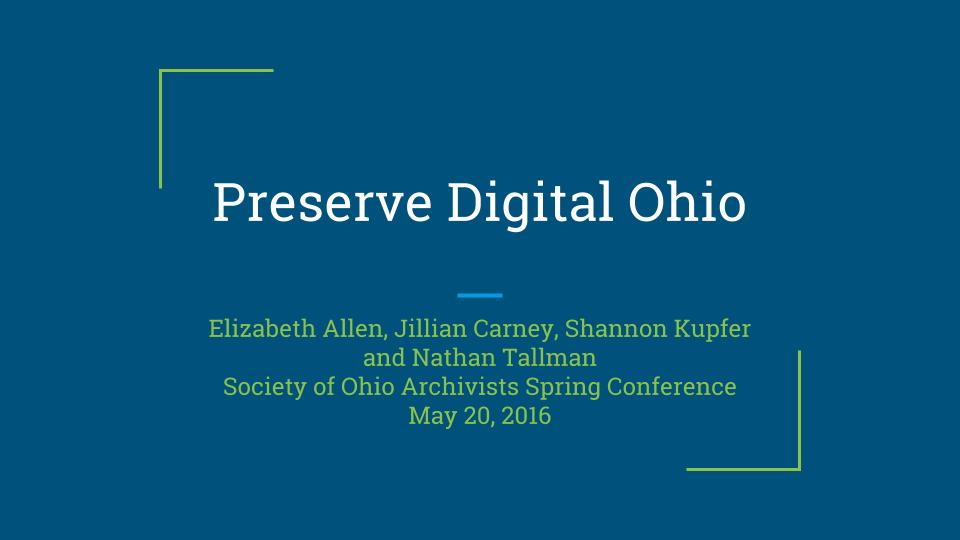 Cover slide for Society of Ohio Archivists annual meeting.